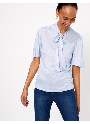 Marks & Spencer Fular Yaka Kısa Kollu Kadın Bluz Mavi